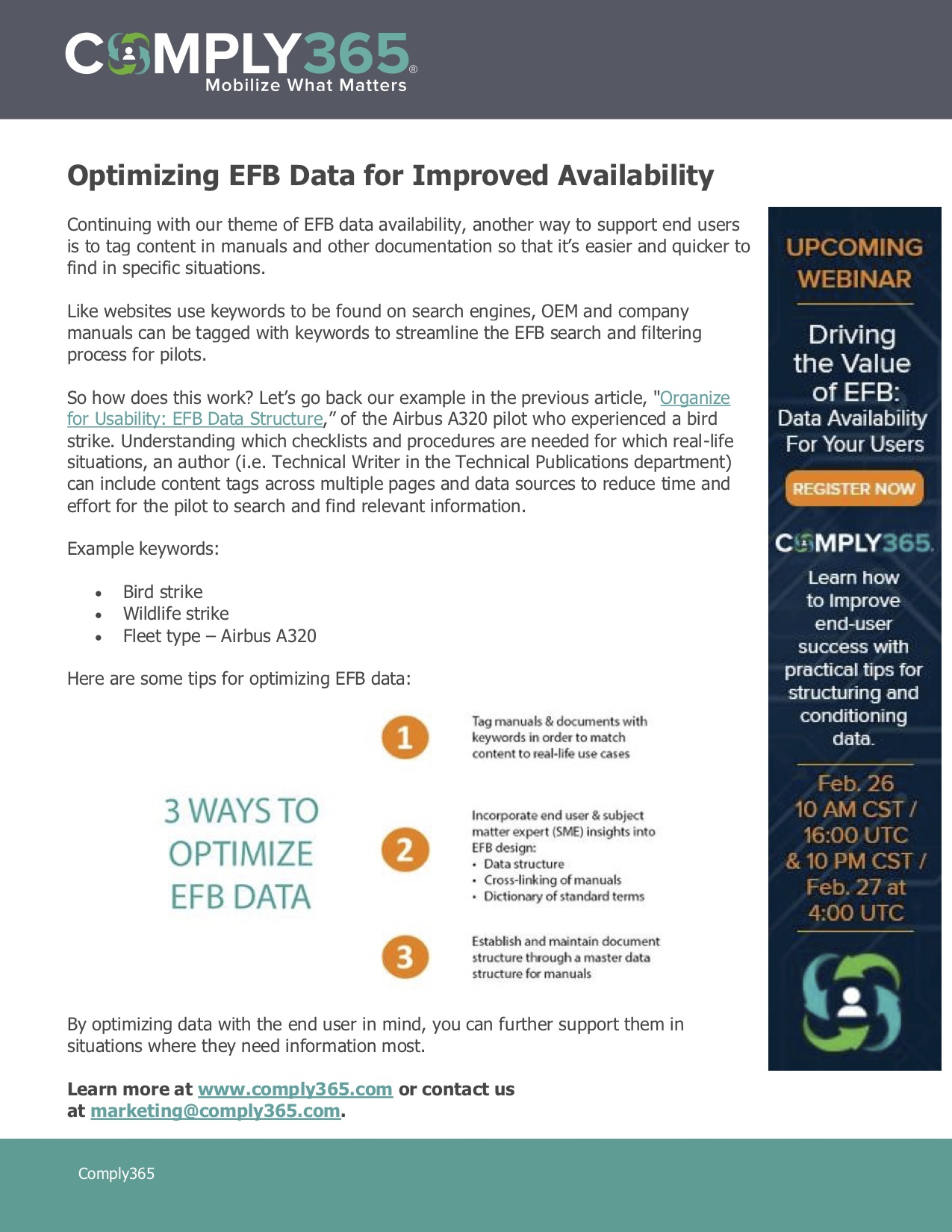 Optimizing EFB Data For Improved Availability
